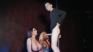 Milfs on fire sharing the young lad's cock like whores