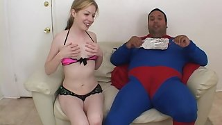 Haley Scott fucks a fat masked guy with a small dick