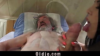 Young sexual healing for old man in pain
