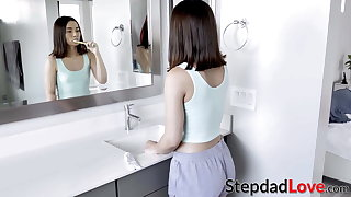 Naughty schoolgirl gets to taste stepdads cock and jizz