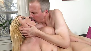 Old guy gets hard for this hot young blonde and fucks their way