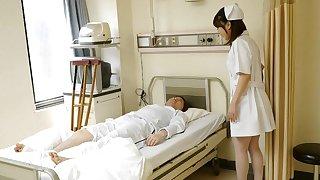Japanese sorrow Reina Wamatsu rubs dick, well-shaped
