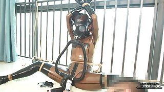 Cute Japanese latex girl, rope bondage coupled with respiration mask breathplay