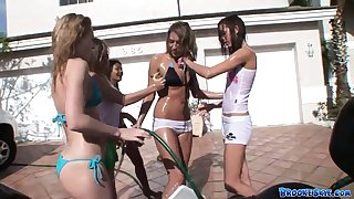 Unskilful chick Brooke Skye attends the jalopy wash and gets her t-shirt untidy
