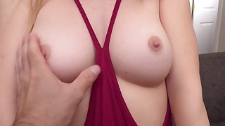 Teen blonde with perky tits loves giving blowjobs