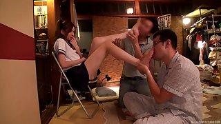 Lola Misaki having a lot of fun with duo insatiable fuck buddies